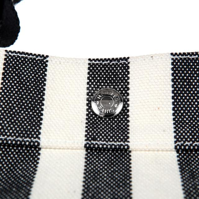 Authentic Hermes Black and White Striped Canvas Tote With Case