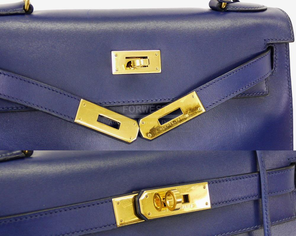 Authentic Hermes Blue Box Calf 28cm Kelly Bag With Strap