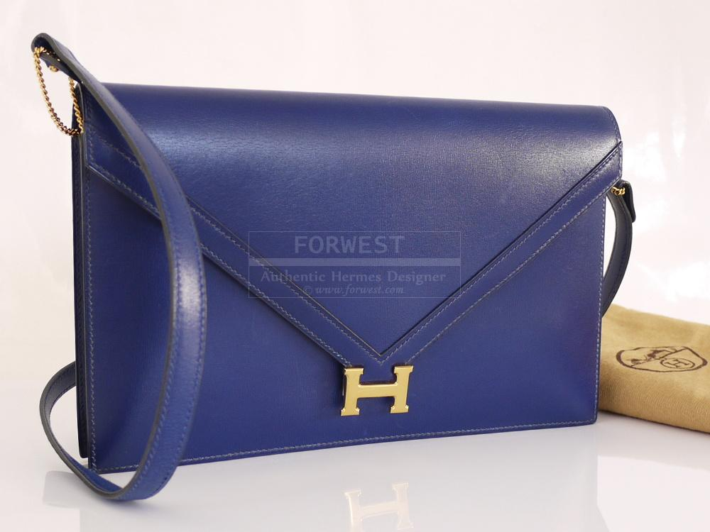 Authentic Hermes Blue Box Calf Lydie 2way Shoulder Bag Vintage Rare