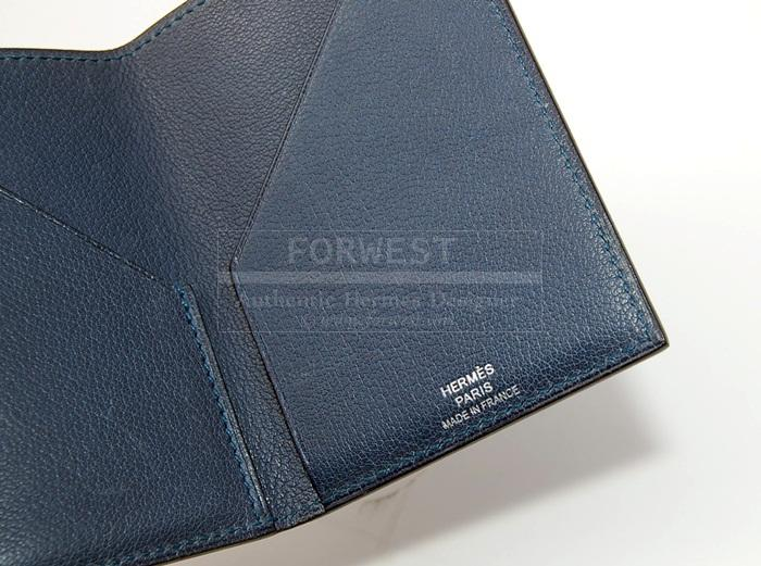 Authentic Hermes Blue Chevre Card Case
