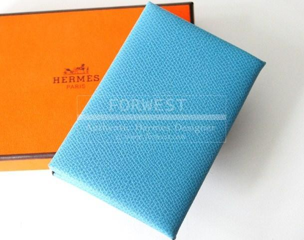Authentic hermes blue jean leather business name card holder case hermes blue jean leather business name card holder case loading zoom colourmoves Gallery