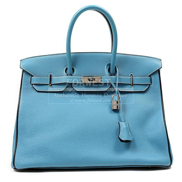 ... 35cm  Authentic Hermes Blue Jean Togo Leather 35 Cm Birkin Bag