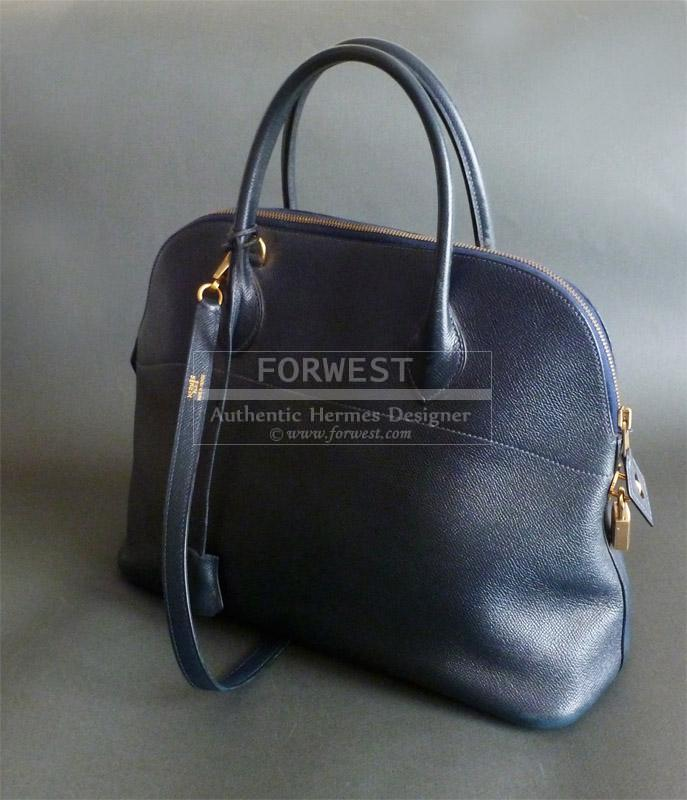 Authentic Hermes Bolide Cuir Graine Courchevel Bleu marine 37 Cm