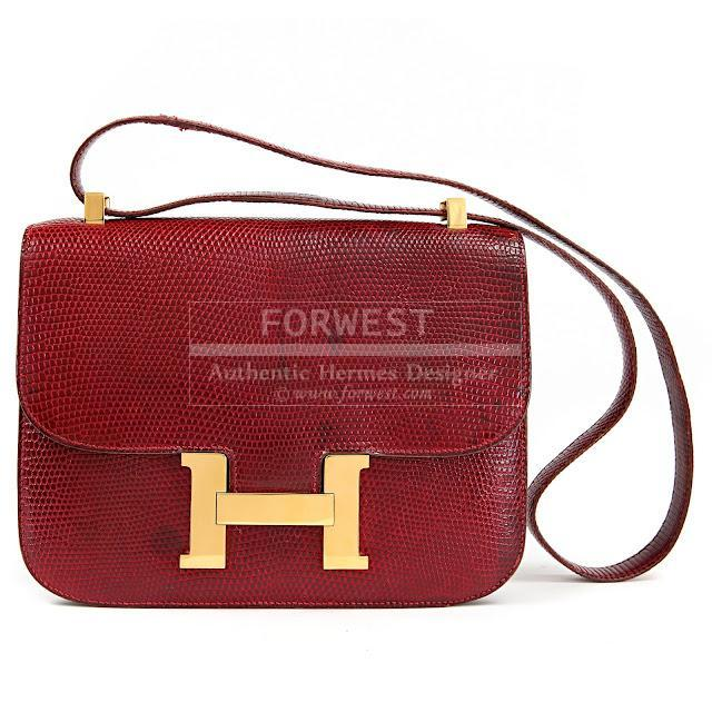 Authentic Hermes Bordeaux Lizard Constance Bag