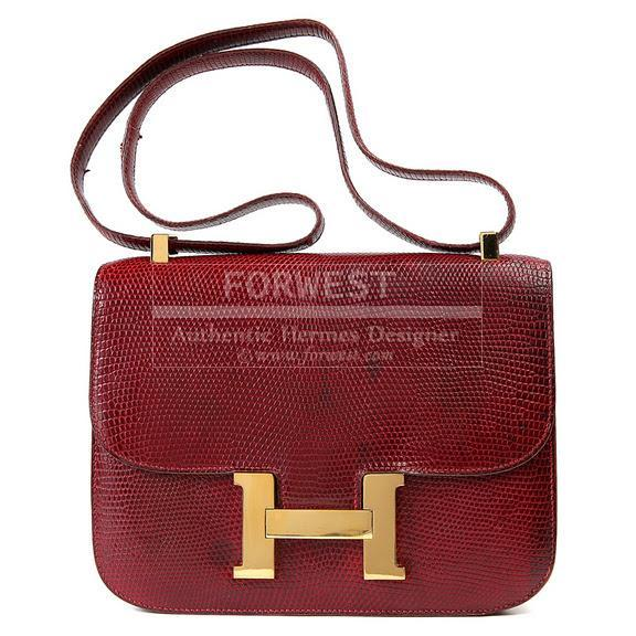 Authentic Hermes Bordeaux Lizard Constance Cross Body Bag