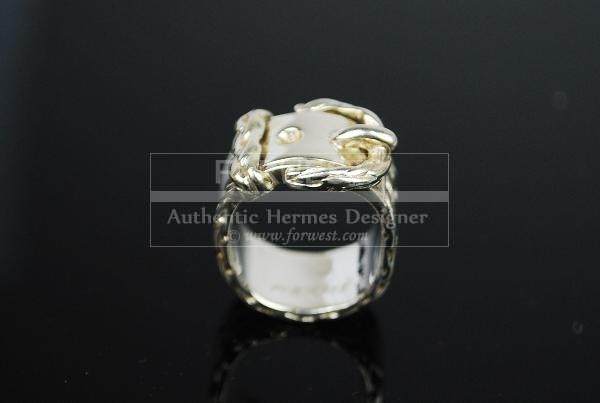 Authentic Hermes Boucle Sellier Ring Sterling Silver 925 Size 50