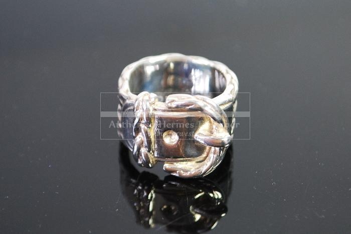 Authentic Hermes Boucle Sellier Ring Sterling Silver 925 Sz 54