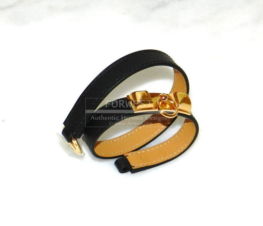 Authentic Hermes Bracelet Rivale Black Swift In Gold Tone Hardware