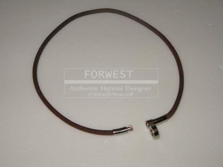 Authentic Hermes Brown Leather Bracelet Good