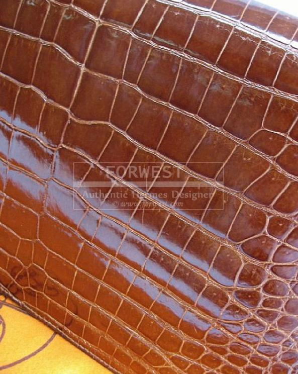 Authentic Hermes Brown Porosus Crocodile Lydie 2way Bag