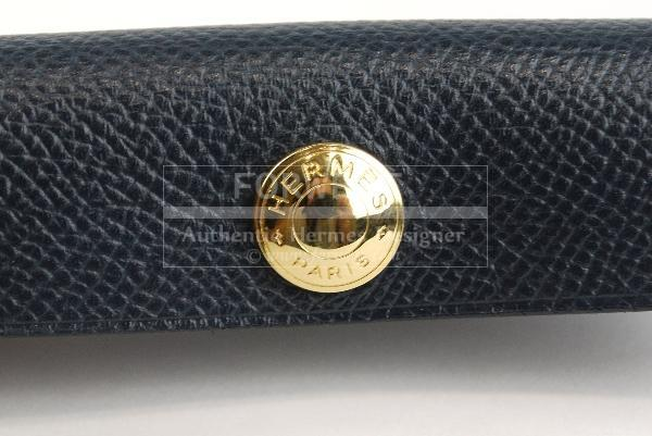 Authentic Hermes Buffalo Horn Comb Navy Leather Case