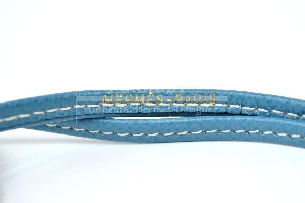 Authentic Hermes Buffalo Horn Dog Whistle Blue Leather Necklace