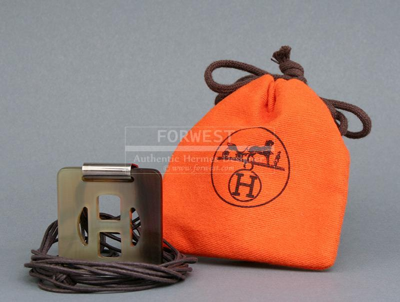Authentic Hermes Buffalo Horn H Signature Necklace and Pendant