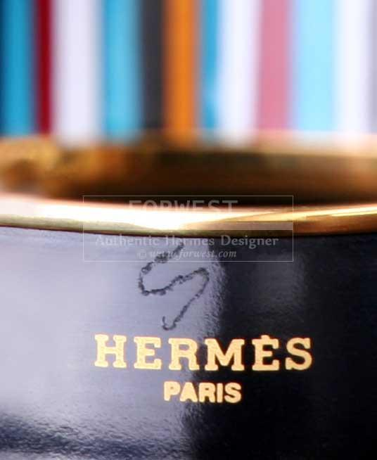 Authentic Hermes Carioca Striped Enamel Wide Bangle Bracelet