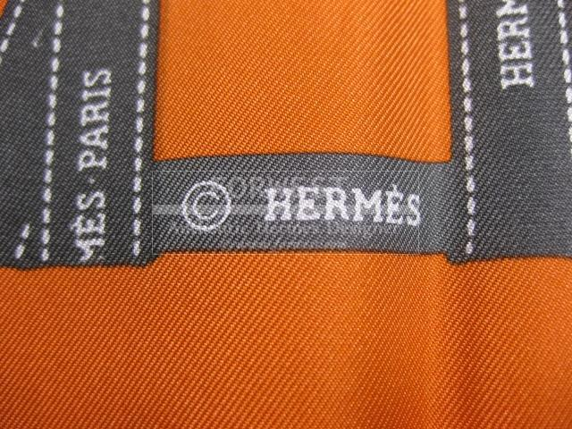 Authentic Hermes Carre orange Bolduc Silk Scarf