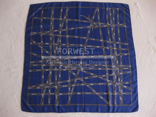 Authentic Hermes Carre Blue Bolduc Silk Scarf