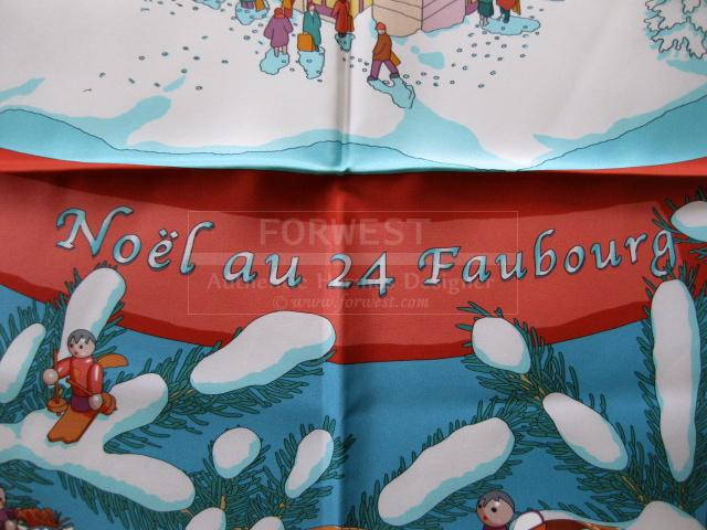 Authentic Hermes Carre Noel Au 24 Faubourg Silk Scarf