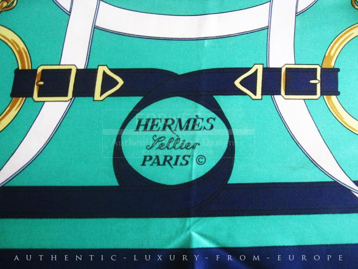 Authentic Hermes Carre quotEperon D Or quotSigne H Origny Silk Scarf