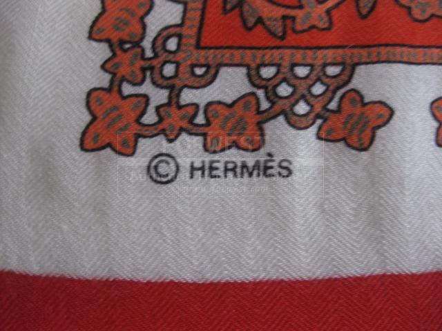 Authentic Hermes Cashmere Silk Scarf Brinse D or Stole