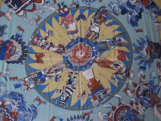 Authentic Hermes Cashmere Silk Scarf Kachinas Stole