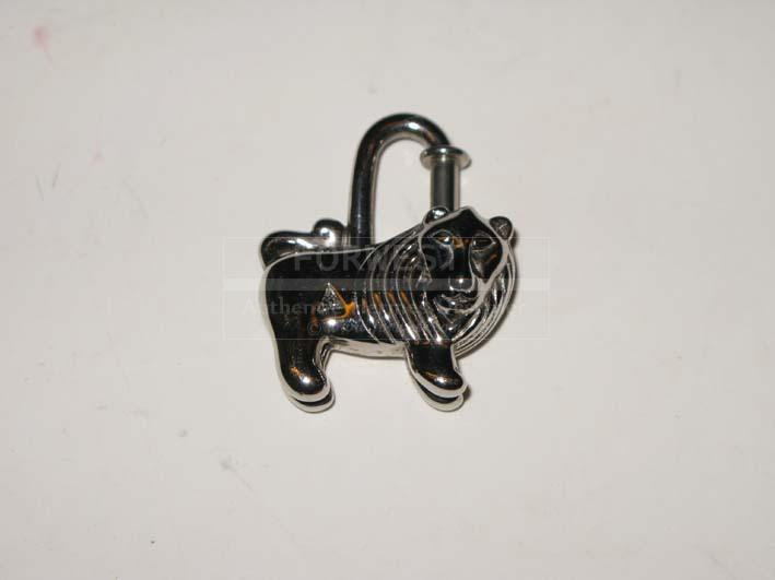 Authentic Hermes Charm Cadenas Palladium Lion 1997 Rare