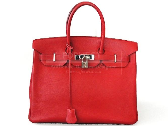 Authentic Hermes Chevre Vermillion Birkin 35 Cm Bag