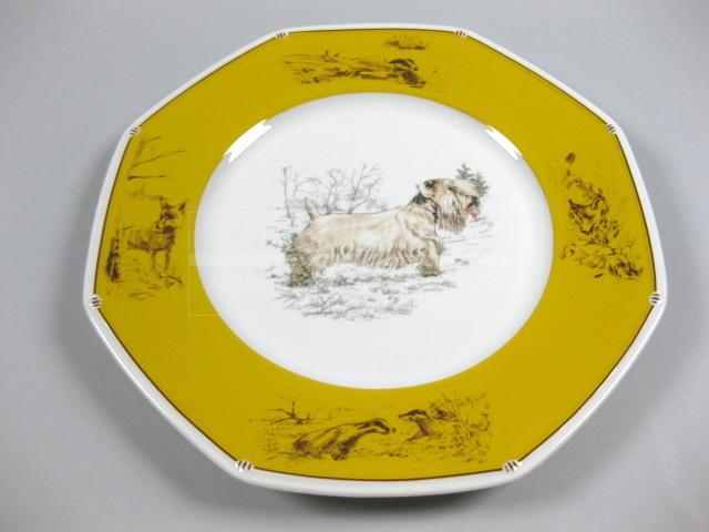 Authentic Hermes Chien Porcelain Dinnerware Dish Sealyham Terrier