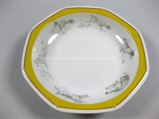 Authentic Hermes Chien Porcelain Dinnerware Soup Plate Dogs