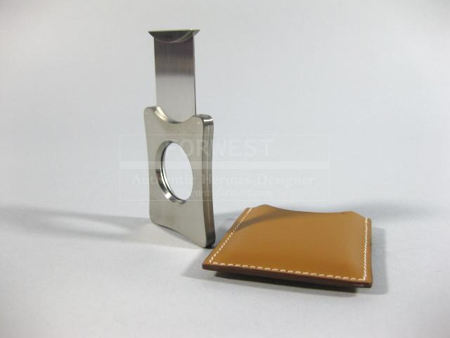 Authentic Hermes Cigar Cutter With Hermes Leather Case