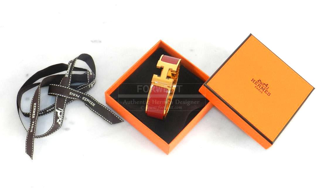 Authentic Hermes Clic Clac Rouge Gold Hardware