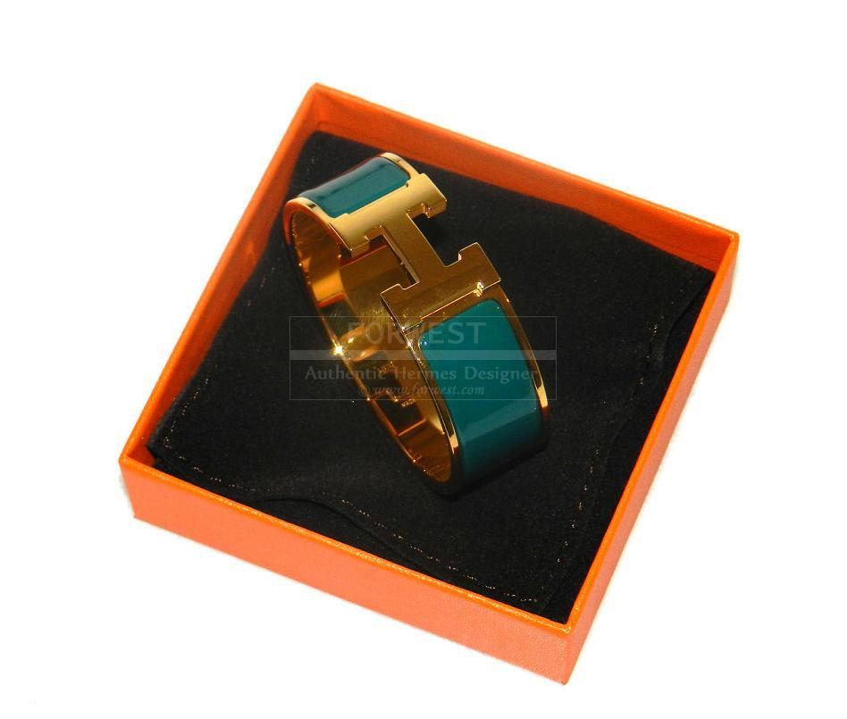 Authentic Hermes Clic Clac Veronese Gold Hardware