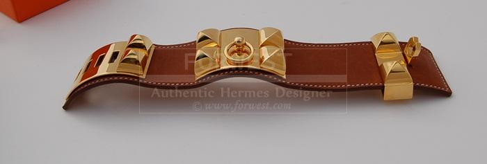 Authentic Hermes Collier De Chien C D C Barenia Gold Hardware