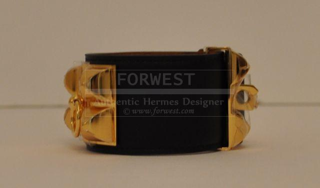 Authentic Hermes Collier De Chien Cdc Black Leather Gold Hardware