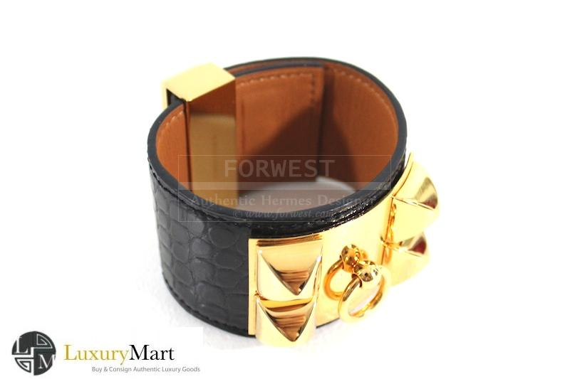 Authentic Hermes Collier De Chien Crocodile Black Gold C D C Bracele