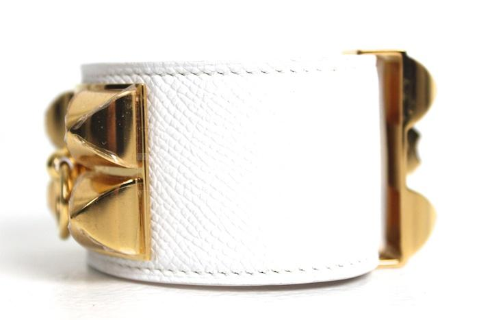 Authentic Hermes Collier De Chien Epsom White Bracelet New