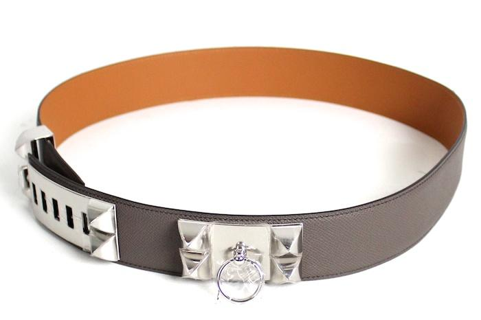 Authentic Hermes Collier De Chien Etain Epsom Belt 90 New