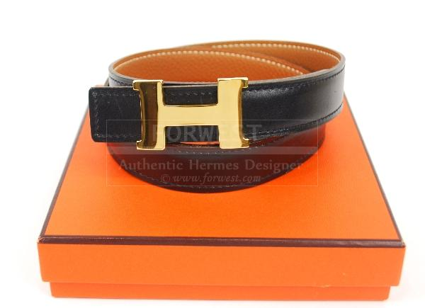 Authentic Hermes Constance Goldtone H Buckle Reversible Belt 70