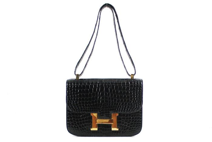 Authentic Hermes Crocodile Black Porosus Constance 23 Cm Bag