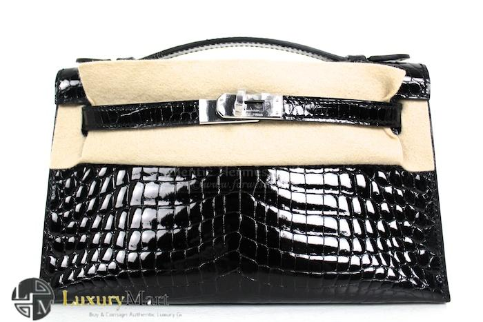 Authentic Hermes Crocodile Kelly Niloticus Black Pochette Bag New