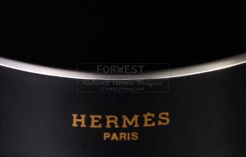 Authentic Hermes Deco Dot Enamel Wide Bangle Bracelet