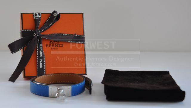 Authentic Hermes Double Tour Blue Hydra Palladium Hardware S