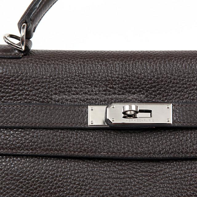 Authentic Hermes Ebene Togo Leather 35 Cm Kelly