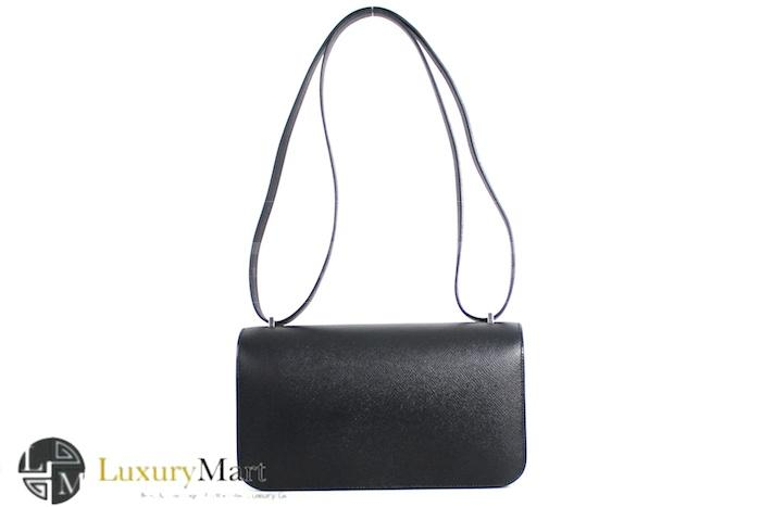 Authentic Hermes Epsom Black Constance Elan 25 Cm Bag New