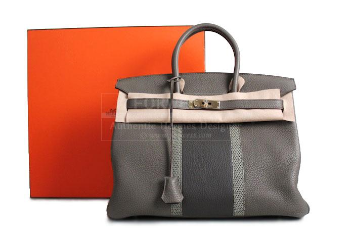 62c4ecd39212 Authentic Hermes Etain Graphite Clemence Birkin Club 35 Cm Bag- 16500.0000