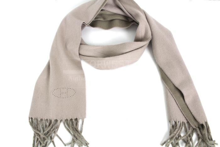 Authentic Hermes Evelyne Khaki Cashmere Scarf