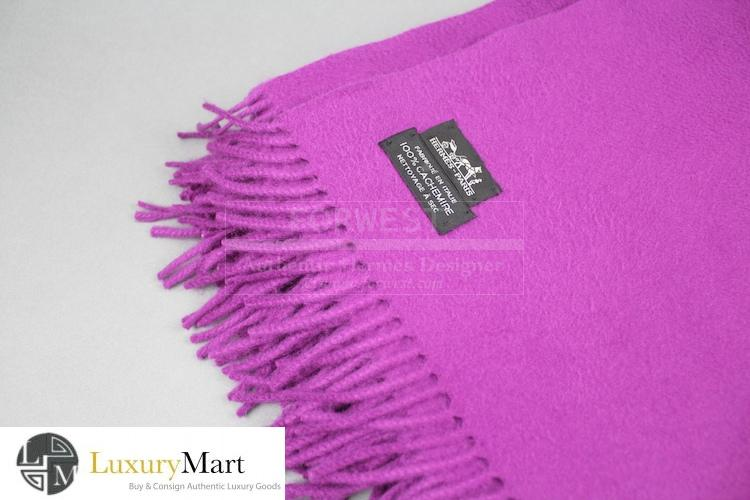 Authentic Hermes Fuchsia Cashmere Throw Blanket