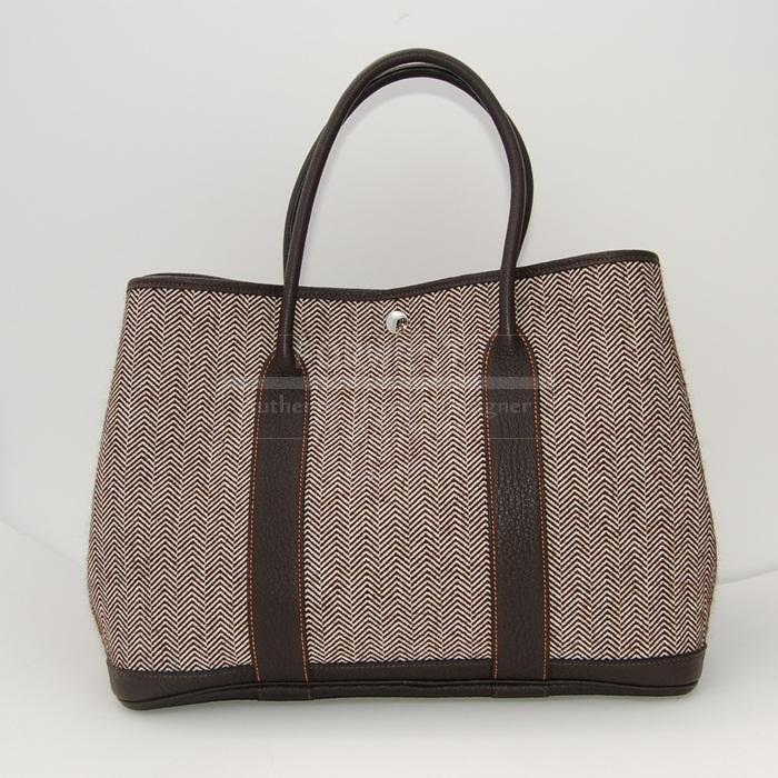 Authentic Hermes Garden Party MM Brown Wool Ebene Trim Tote
