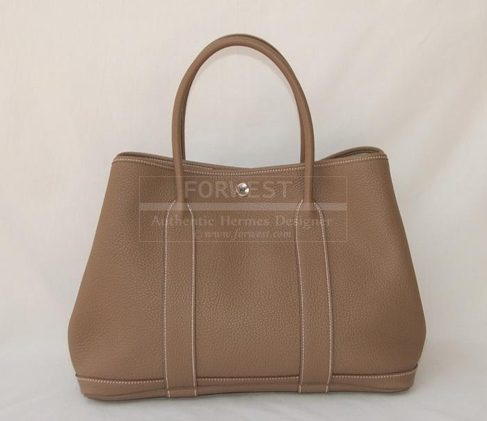 Authentic Hermes Garden Party MM Etoupe All Leather