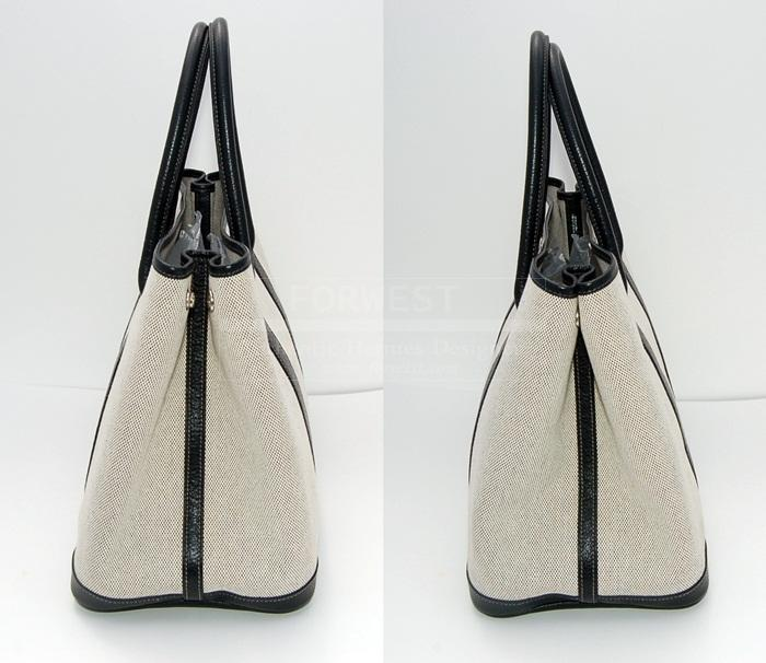 Authentic Hermes Garden Party MM Toile Black Trim Tote