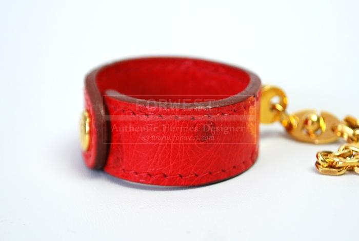 Authentic Hermes Glove Holder Red Ostrich Leather Goldtone Chai